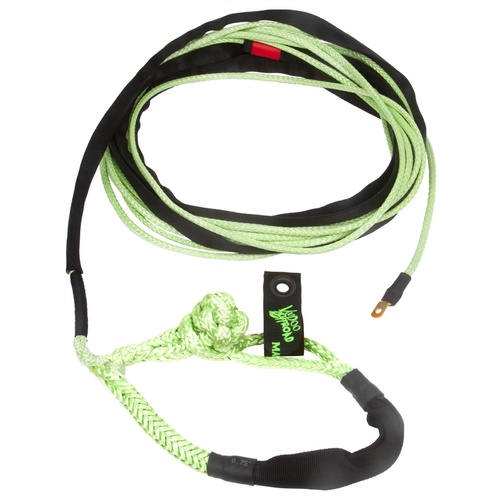 Winch Rope Jeep/Truck 3/8 Inch x 80 Foot (10mm x 24m) W/ Soft Shackle End Green VooDoo Offroad