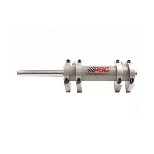 "PSC Full Hydraulic Double Ended 9"" Stroke Steering Cylinder, with 4 Flat Base Clamps"